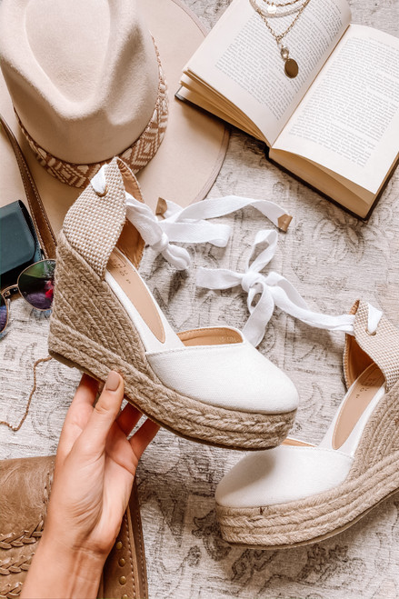 Lace Up White Espadrille Wedges