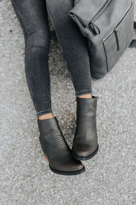 Very G Two Tone Faux Croc Booties