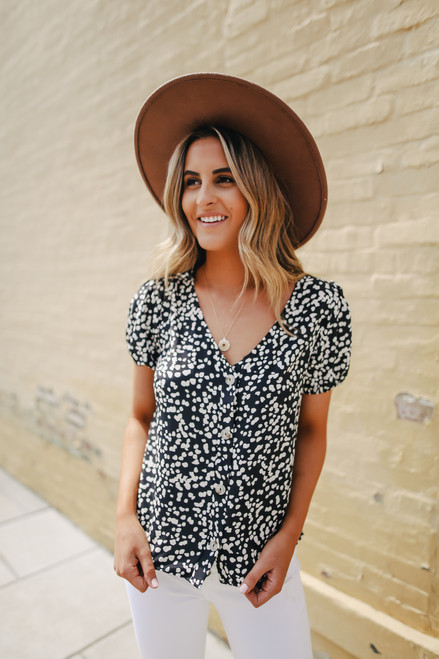 Everly Button Down Black Dotted Blouse