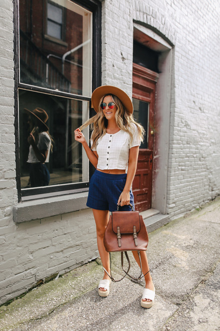 Button Down White Textured Top