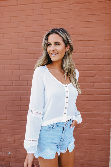 Button Down White High Low Top