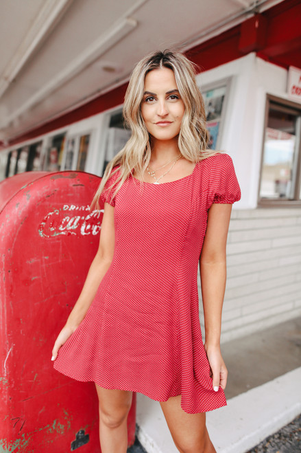 Square Neck Red Dotted Dress