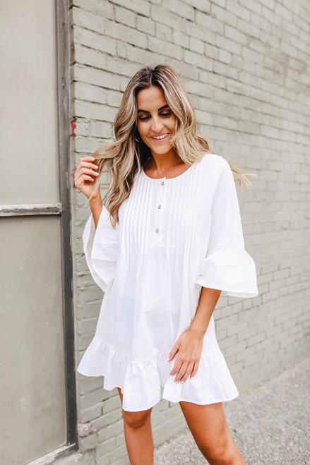 Ruffle Hem White Henley Dress