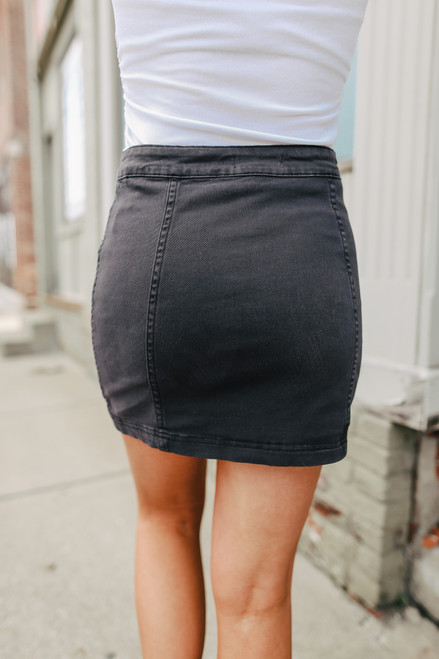 Side Button Charcoal Denim Skirt