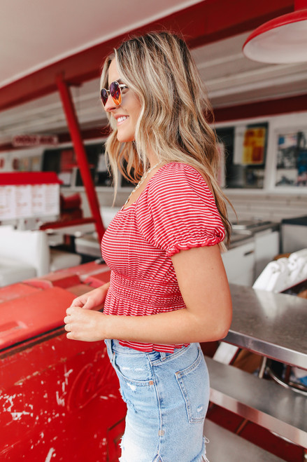 Square Neck Red Striped Top