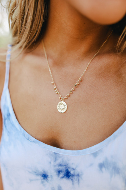 Textured Charm Gold Beaded Necklace
