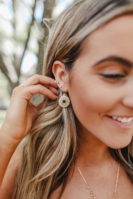 Starburst Gold & White Earrings