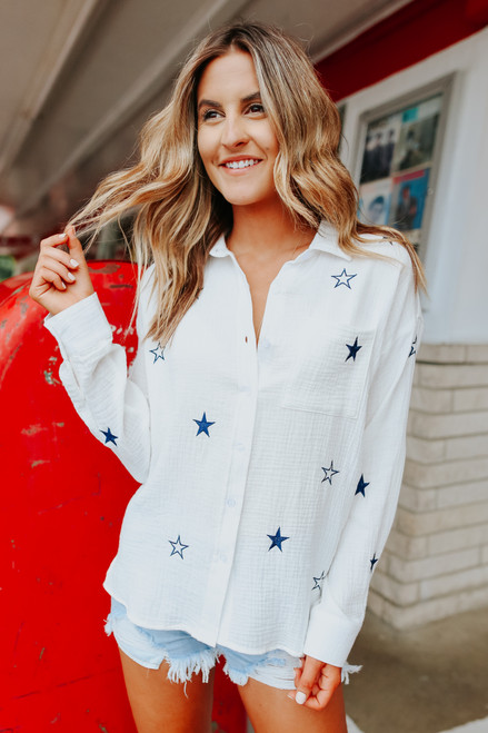 Button Down Embroidered Star Shirt