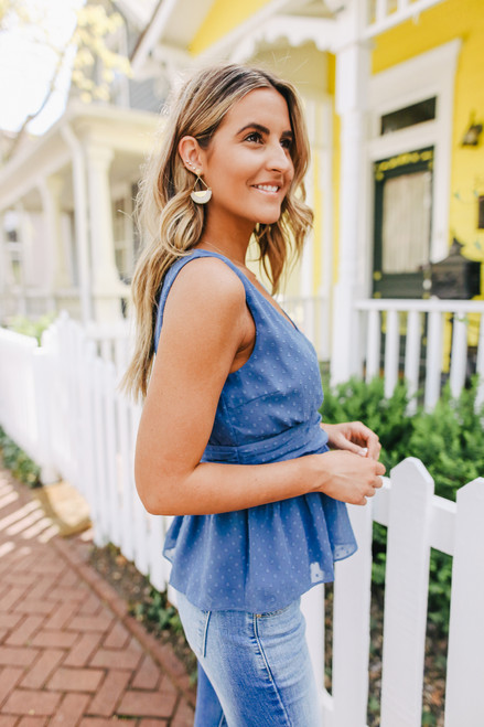 V-Neck Dusty Blue Dotted Peplum Blouse
