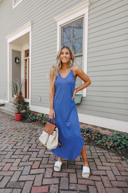 Strappy Back Navy Striped Maxi
