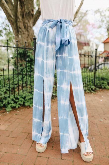 Tie Waist Blue Tie Dye Slit Pants
