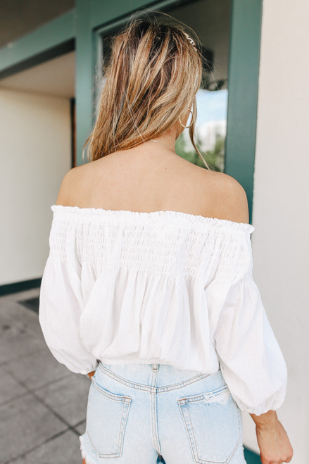 Off the Shoulder Button Down White Top
