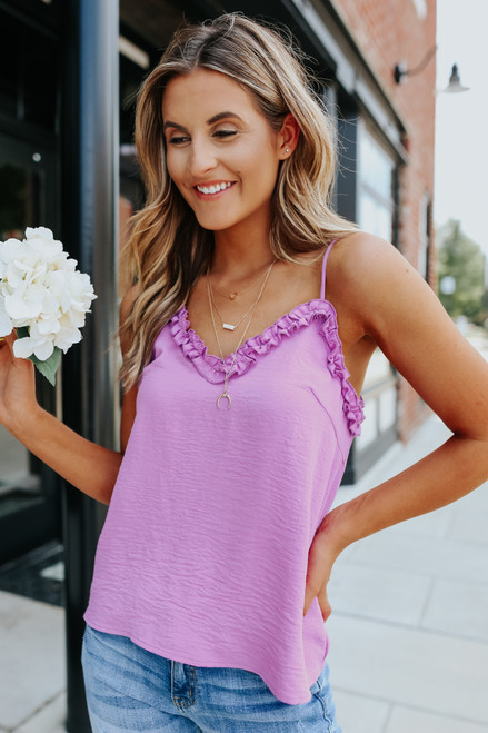 V-Neck Ruffle Orchid Crinkle Tank