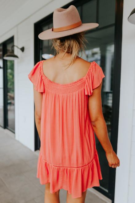 Off the Shoulder Smocked Coral Dress
