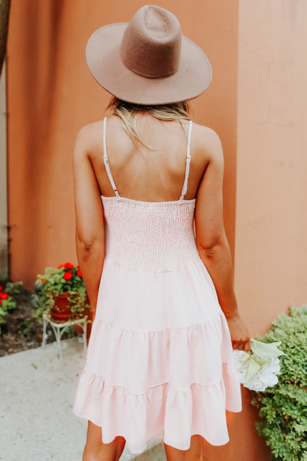 Scoop Neck Tiered Pink Linen Dress