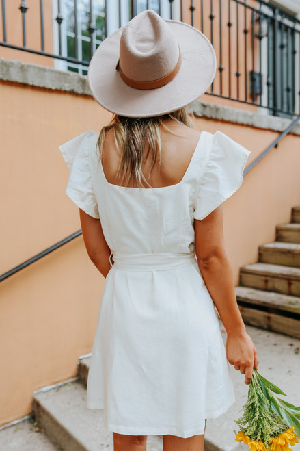 Ruffle Sleeve Button Down Cream Dress