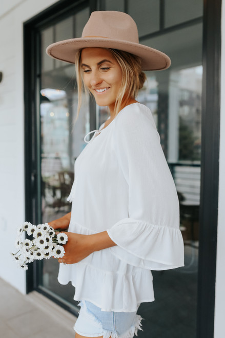 Tie Front Tiered White Peasant Top