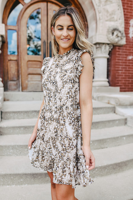Mock Neck Leopard Tiered Dress