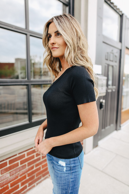 One Shoulder Black Ribbed Top