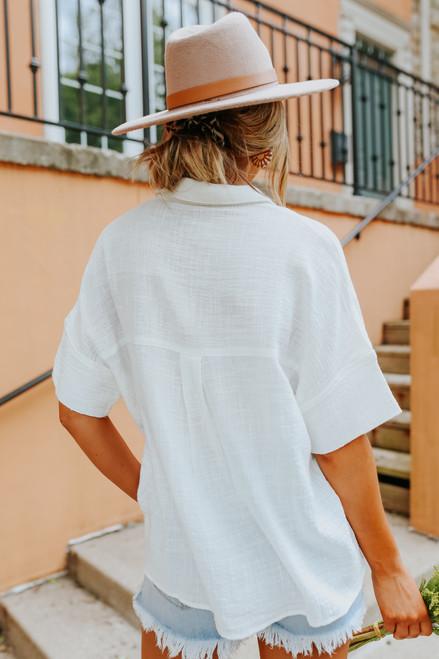 Short Sleeve Button Down White Shirt