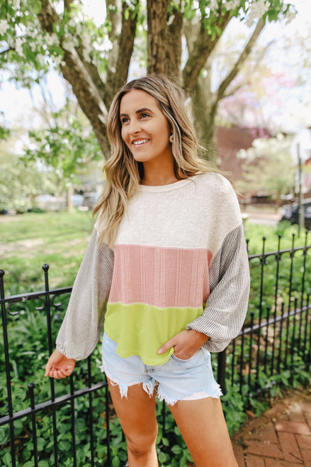 Bungalow Textured Colorblock Pullover