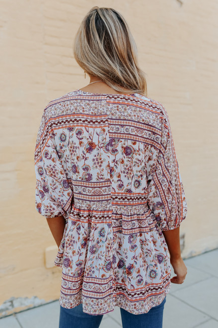 Lace Up Mixed Print Empire Top