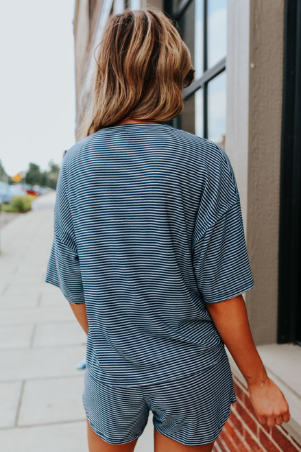 Short Sleeve Navy Striped Pocket Pullover