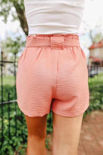 Gulf Breeze Tie Waist Coral Shorts