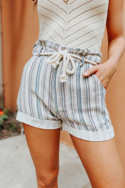 Tie Waist Striped Linen Shorts