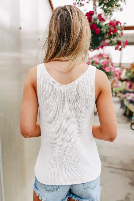 V-Neck White Sweater Tank