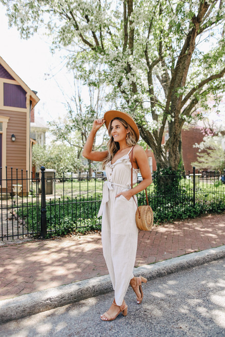 Button Down Ruffle Taupe Stripe Jumpsuit