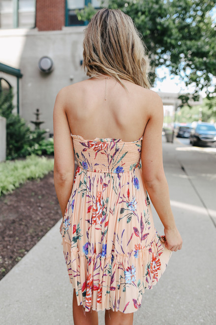 Tie Front Coral Floral Strapless Dress