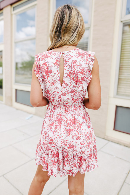 Ruffle Sleeve Drawstring Floral Dress