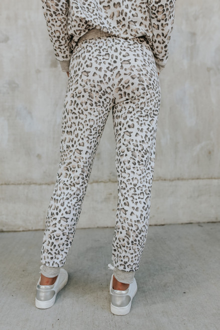 Drawstring Grey Leopard Joggers