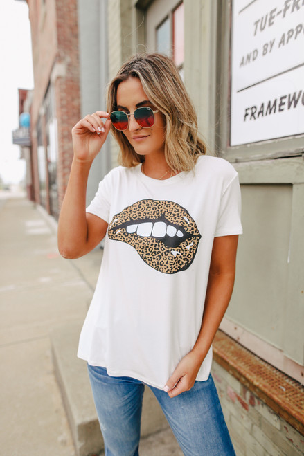 Leopard Lips Ivory Tee