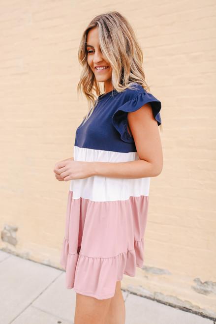 Ruffle Sleeve Tiered Colorblock Dress