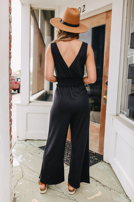 Surplice Smocked Waist Black Jumpsuit