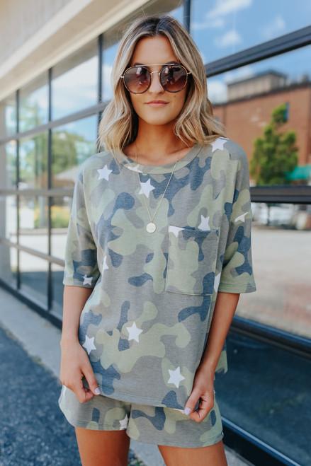 Short Sleeve Camo Star Pullover