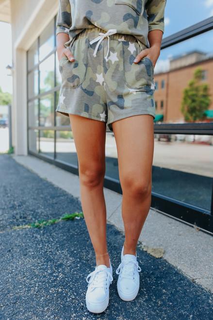 Drawstring Camo Star Lounge Shorts