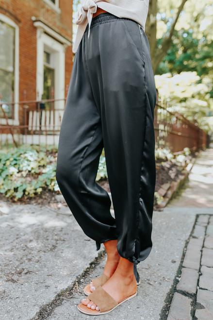 Tie Detail Black Satin Joggers