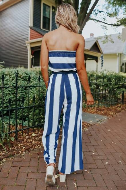 Set Sail Strapless Striped Jumpsuit