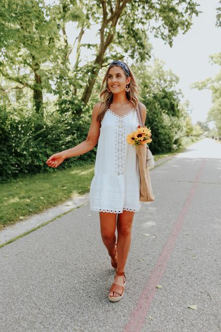 V-Neck Crochet Detail White Dress