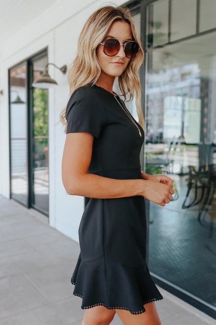 Short Sleeve Ruffle Hem Black Dress