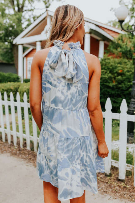 High Neck Blue Watercolor Tie Dye Dress