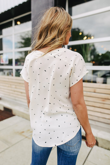 Button Down Cream Dotted Twisted Hem Blouse