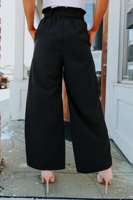 City Chic Tie Waist Black Pants