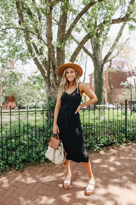 V-Neck Drawstring Black Knit Midi Dress