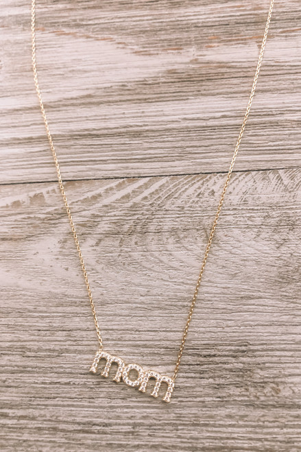 Mom Pave Gold Plated Necklace