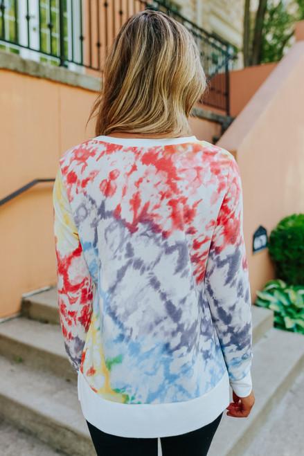 Rainbow Tie Dye High Low Pullover