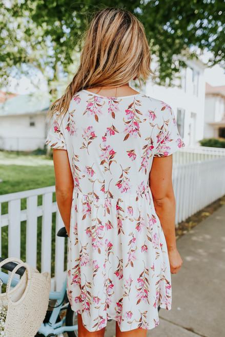 Short Sleeve Ivory Floral Babydoll Dress